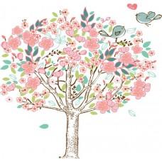 Kleurige boom met vogels